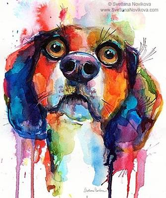 Funny Beagle Watercolor Portrait By Art Print