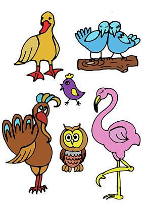 Digital Art - Funny Birds by Irina Sztukowski