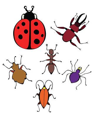 Painting - Funny Bugs by Irina Sztukowski
