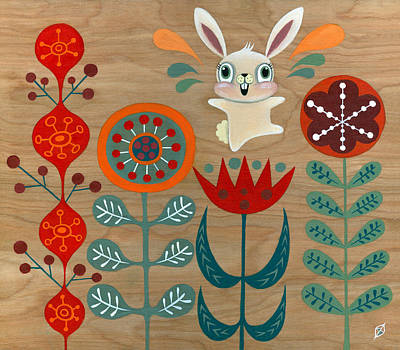 Art Print featuring the painting Funny Bunny by Kaori Hamura Long