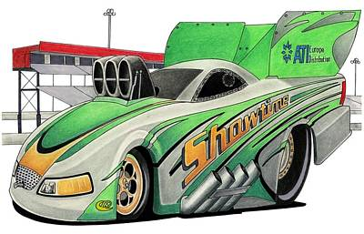 Funny Car Toon Art Print by Lyle Brown