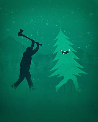 Eric Fan Whimsical Illustrations - Funny Cartoon Christmas tree is chased by Lumberjack Run Forrest Run by Philipp Rietz