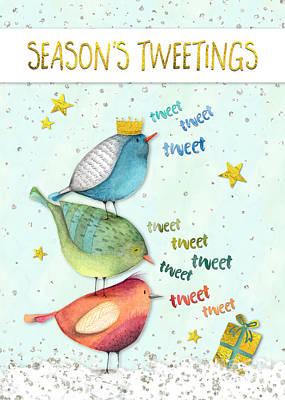 Tweets Digital Art - Funny Christmas Card - Seasons Tweetings by Natalie Kinnear