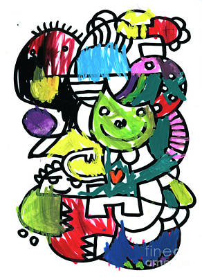 Digital Art - Funny Creatures Doodle Colorful Drawing by Frank Ramspott