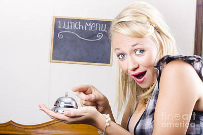 Lively Photograph - Funny Customer Pressing Coffee Shop Service Bell by Jorgo Photography - Wall Art Gallery