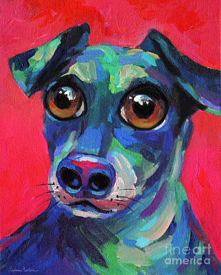 Painting - Funny Dachshund Weiner Dog With Intense Eyes by Svetlana Novikova