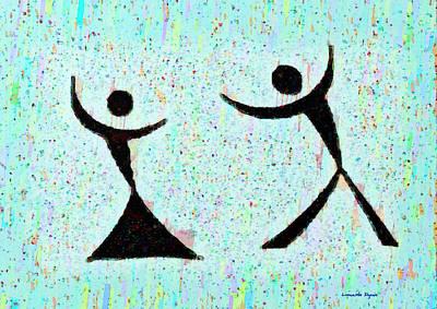 Multi-color Digital Art - Funny Dance - Pa by Leonardo Digenio