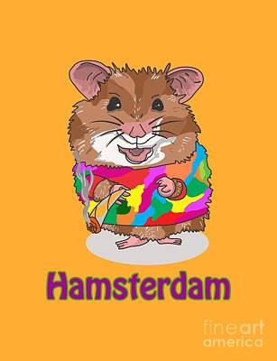 T-shirt Designs Drawing - Funny Design Illustration Puns Hamsterdam The Wire by Paul Telling