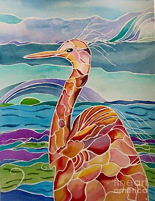 Painting - Funny Egret by Carolyn Weir