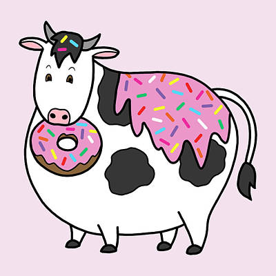 Funny Fat Holstein Cow Sprinkle Doughnut Art Print by Crista Forest