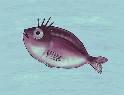 Animals Digital Art - Funny Fish With Fancy Eyelashes by Boriana Giormova