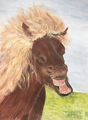Painting - Funny Iceland Horse by Anne Sands