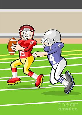 American Football Digital Art - Funny Illustration About American Football In Cartoon Style by Daniel Ghioldi