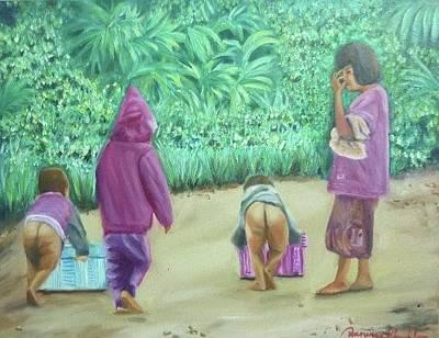 Painting - Funny Little Life by Wanvisa Klawklean