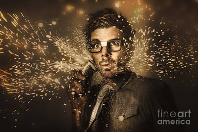 Electric Razor Photograph - Funny Male Beauty And Fashion Nerd by Jorgo Photography - Wall Art Gallery