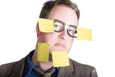 Funny Man With Yellow Sticky Notes On Face Art Print by Jorgo Photography - Wall Art Gallery