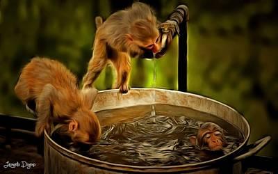 Consider Digital Art - Funny Monkeys - Da by Leonardo Digenio