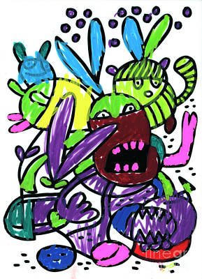 Digital Art - Funny Monsters Doodle Colorful Drawing by Frank Ramspott