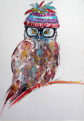 Funny Owl Art Print by Kovacs Anna Brigitta