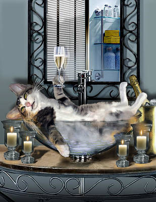 On Trend At The Pool - Funny pet print with a tipsy kitty  by Regina Femrite