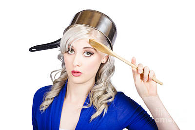 Funny Pin Up Housewife Saluting For Cooking Duties Art Print
