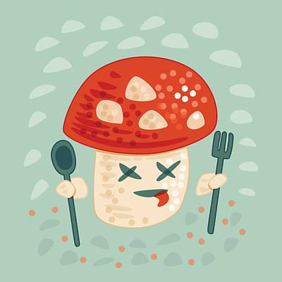 Digital Art - Funny Poisoned Mushroom Character by Boriana Giormova