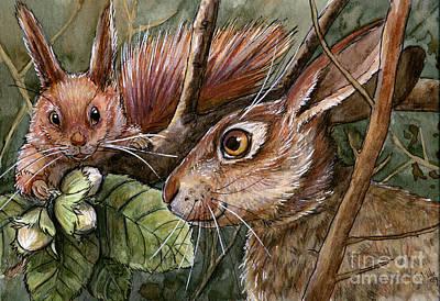 Nuts Mixed Media - Funny Rabbits - Hazel Nuts From The Squirrel by Svetlana Ledneva-Schukina