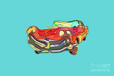 Transportation Digital Art - Funny, red antique car on a blue background. by Viktor Birkus