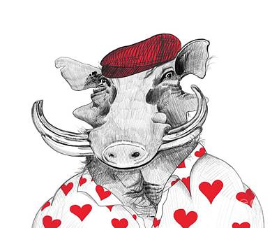 Razorback Drawing - Funny Warthog Pig In Love by Apostrophe Art
