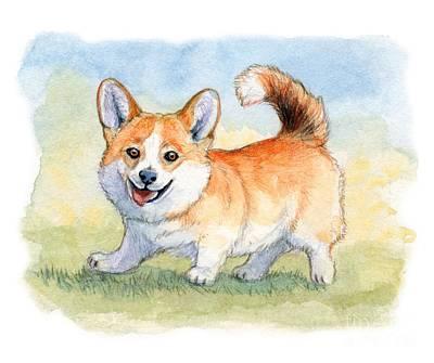 Funny Dog Mixed Media - Funny Welsh Corgi 859 by Svetlana Ledneva-Schukina