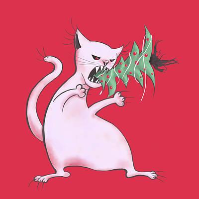 Funny White Cat Eats Christmas Tree Art Print