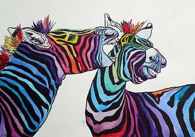 Funny Zebras Art Print by Kovacs Anna Brigitta