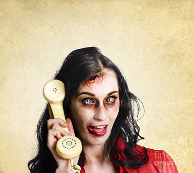 Funny Zombie Employee With Dead Phone Line Art Print by Jorgo Photography - Wall Art Gallery