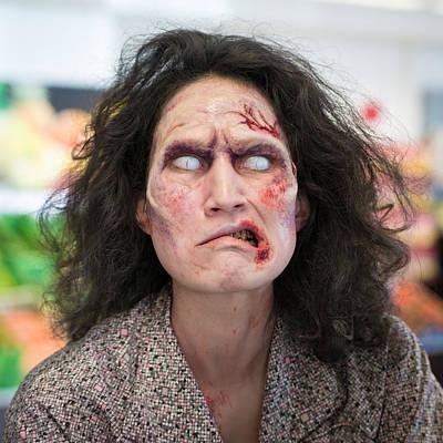 Funny Zombie Grimace Art Print by Matthias Hauser