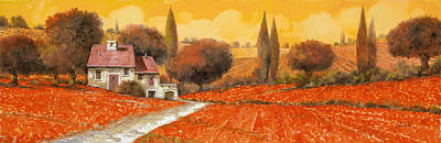 Oil Landscape Painting - fuoco di Toscana by Guido Borelli
