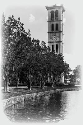 Furman Photograph - Furman University Bell Tower Greenville South Carolina Black And White by Carol Montoya