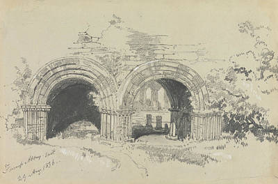 Drawing - Furness Abbey East, 29 August 1836 by Edward Lear