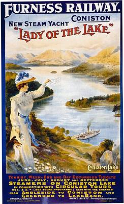 Mixed Media - Furness Railway - New Steam Yacht - Lady Of The Lake - Retro Travel Poster - Vintage Poster by Studio Grafiikka