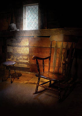 Furniture - Chair - Forgotten Memories  Art Print by Mike Savad