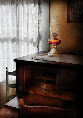 Oil Lamp Photograph - Furniture - Lamp - I Used To Write Letters  by Mike Savad