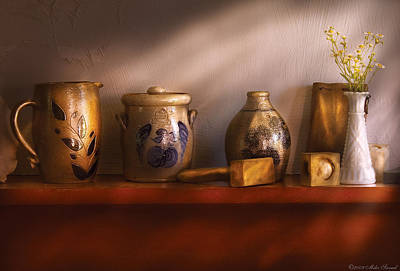 Photograph - Furniture - Shelf - Family Heirlooms  by Mike Savad