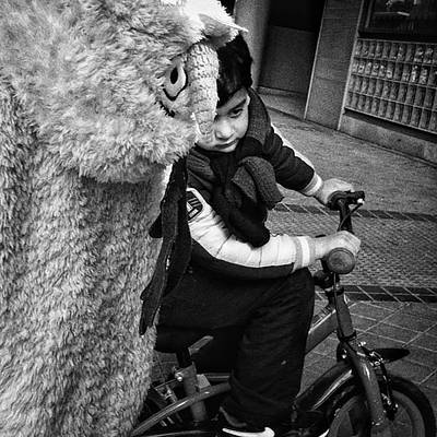 Bike Photograph - Furry In A Hurry! #kids #bike #bnw by Rafa Rivas