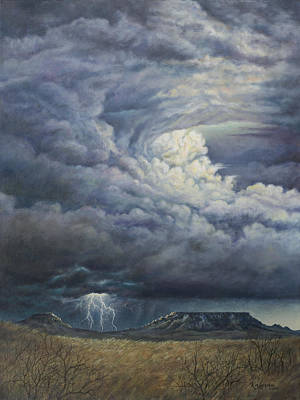 Art Print featuring the painting Fury Over Square Butte by Kim Lockman