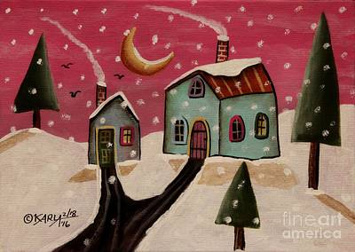 Winter Landscape Painting - Fuschia Sky by Karla Gerard