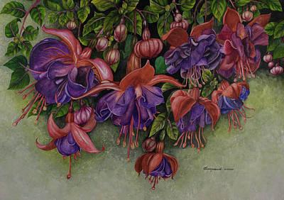 Fuschias Original by Olive Pascual