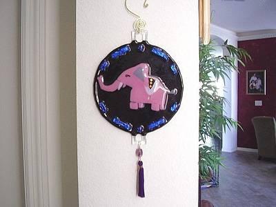 Fused Glass Pink Elephant Original by Michele Palenik
