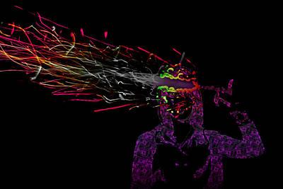 Brilliant Fireworks Photograph - Fused Series - Fingerbang by Erik Hovind