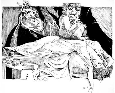 Gary Peterson Drawing - Fuseli Nightmare by Gary Peterson