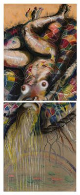 Colorful Abstract Drawing - Fusion II - Diptych by Gideon Cohn