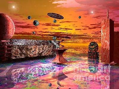 Digital Art - Future Horizions Firey Sunset by Jacqueline Lloyd